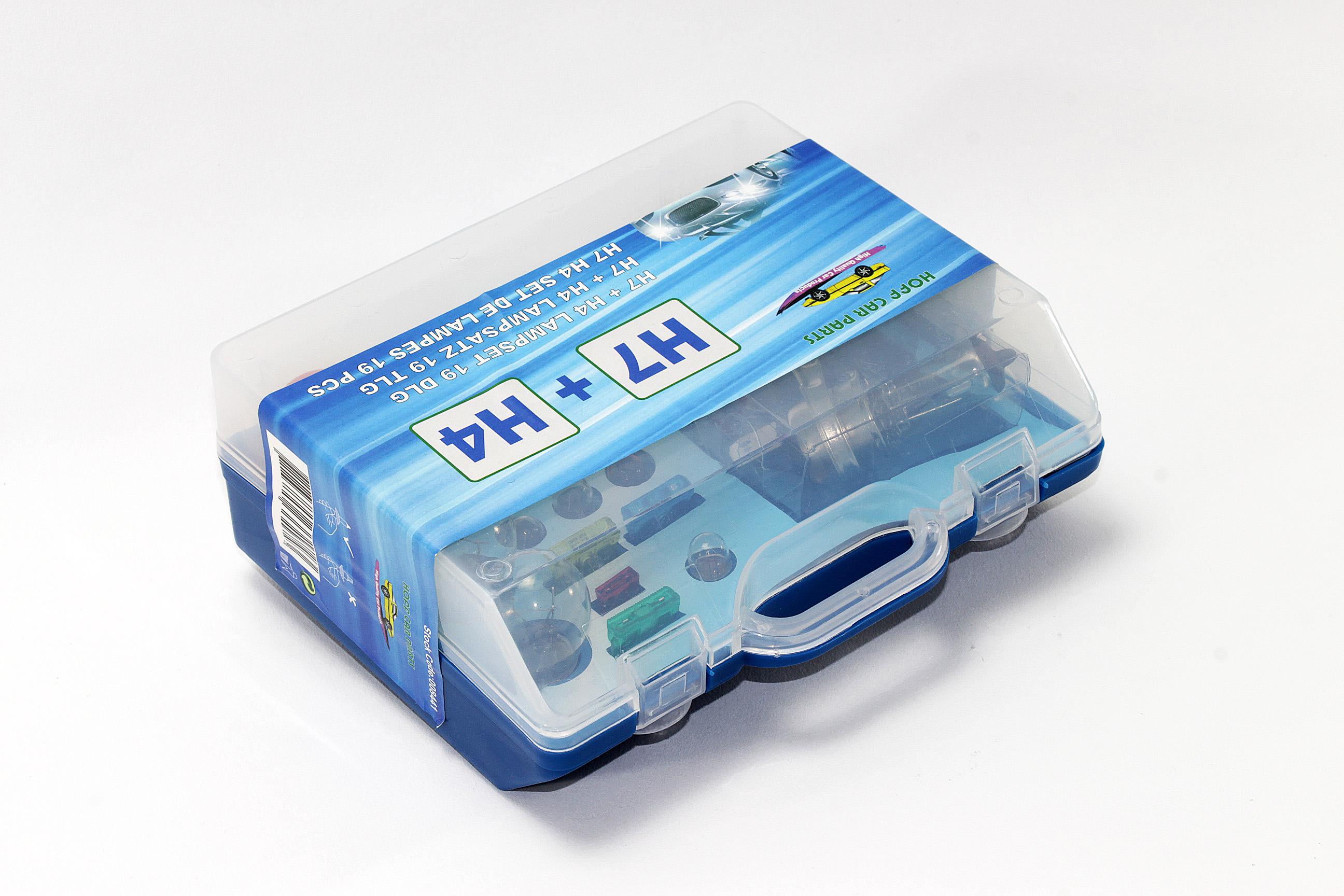10 tlg Autolampen Box Ersatzbox PKW H1 H4 H7 Lampe Auto Ersatzkasten mit E4