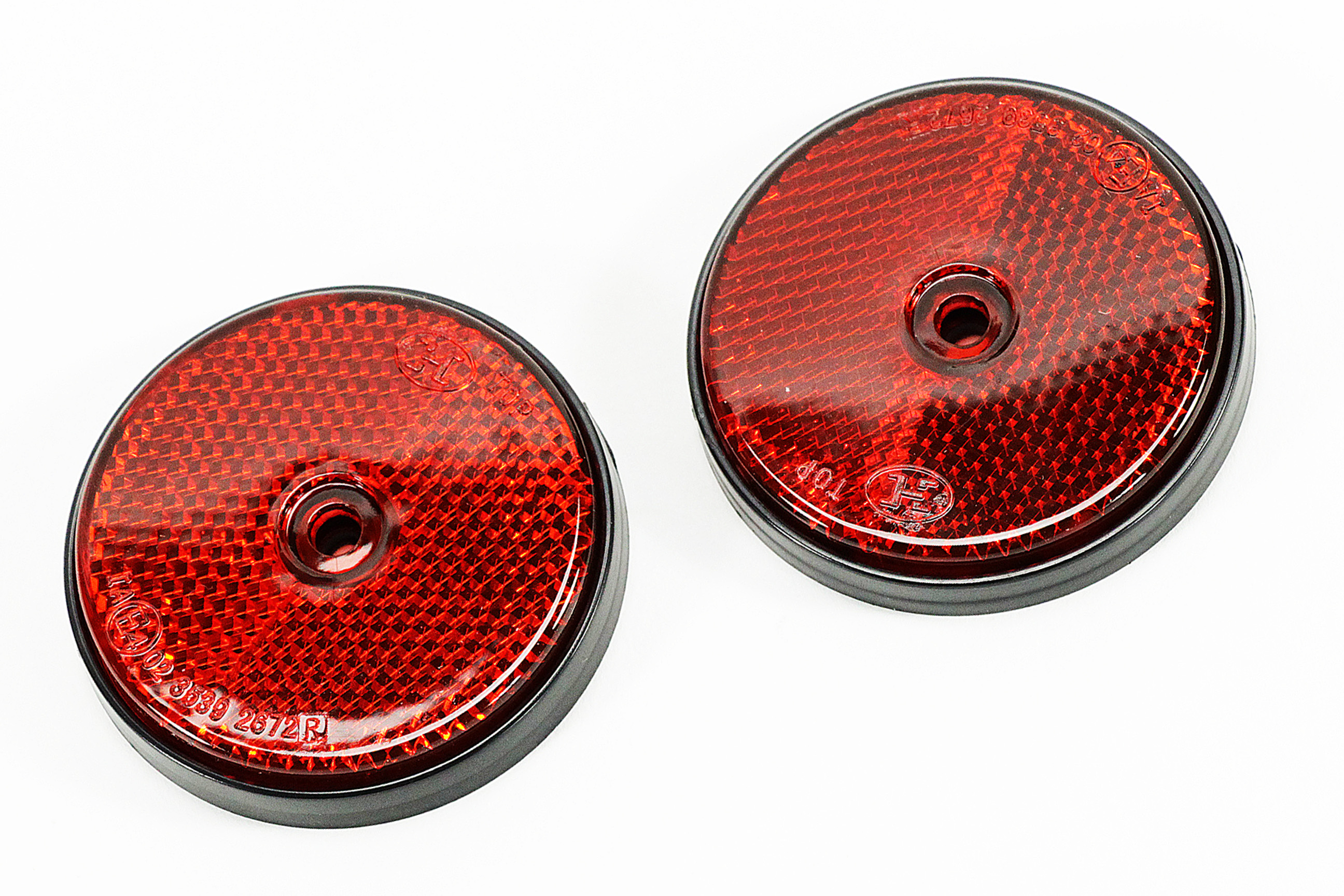 NEU 6x Katzenaugen Ø 60 mm für Auto PKW ROT Reflektoren Rückstrahler